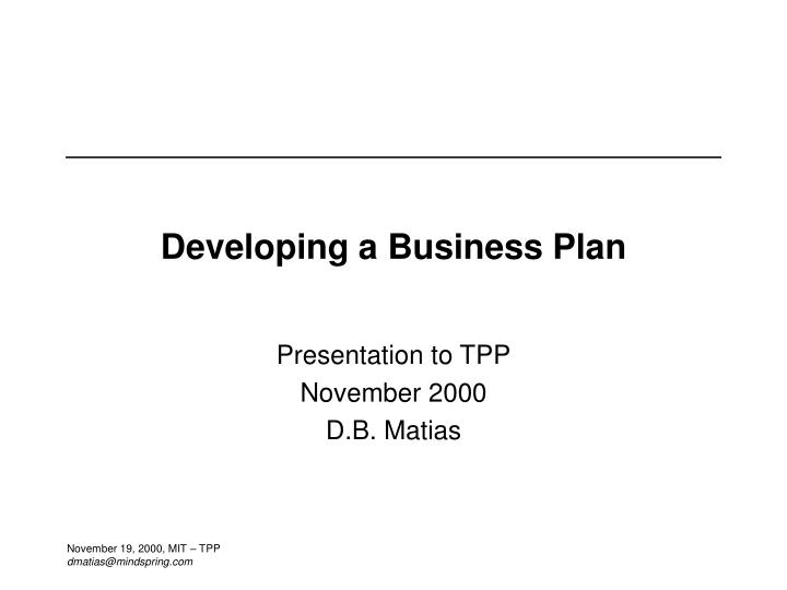 developing a business plan n.