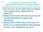 4 a argument investors do not make adjustments for different accounting methods
