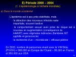 e p riode 2000 2004 1 l pid miologie l chelle mondiale