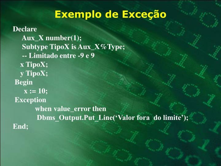 Exemplo de Exceção