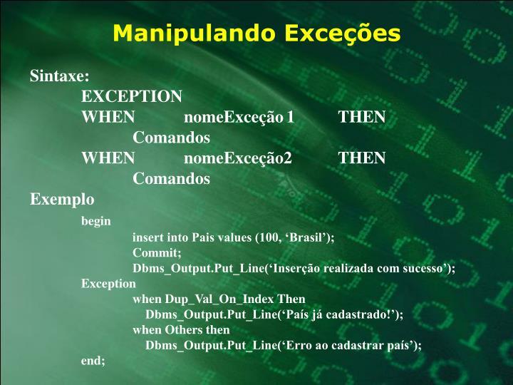 Manipulando Exceções