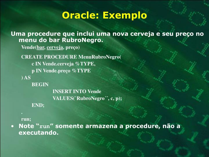 Oracle: Exemplo