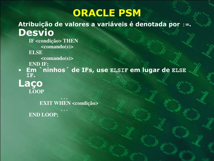 ORACLE PSM