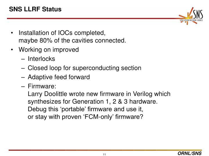 SNS LLRF Status