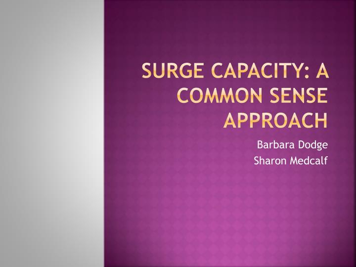 surge capacity a common sense approach n.