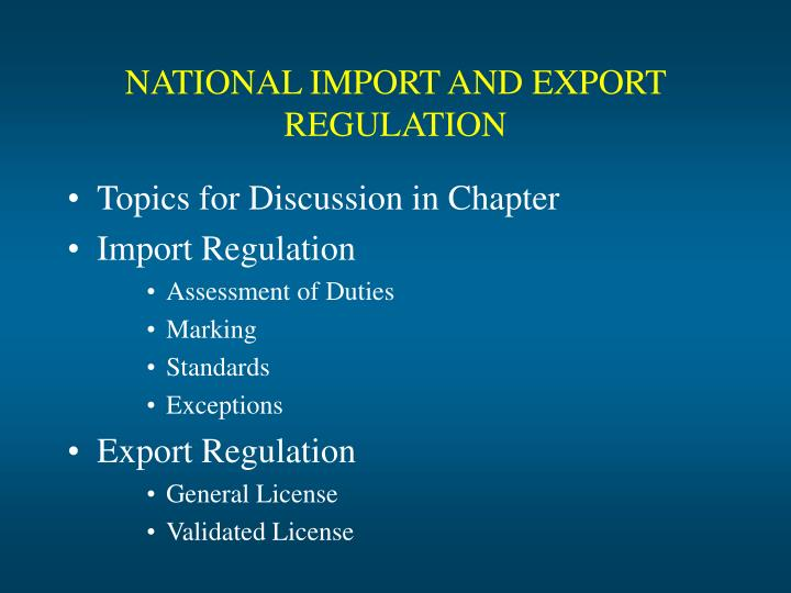 national import and export regulation n.