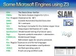 some microsoft engines using z3