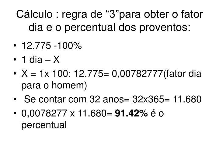 """Cálculo : regra de """"3""""para obter o fator dia e o percentual dos proventos:"""