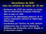 surveillance du shu chez les enfants de moins de 15 ans