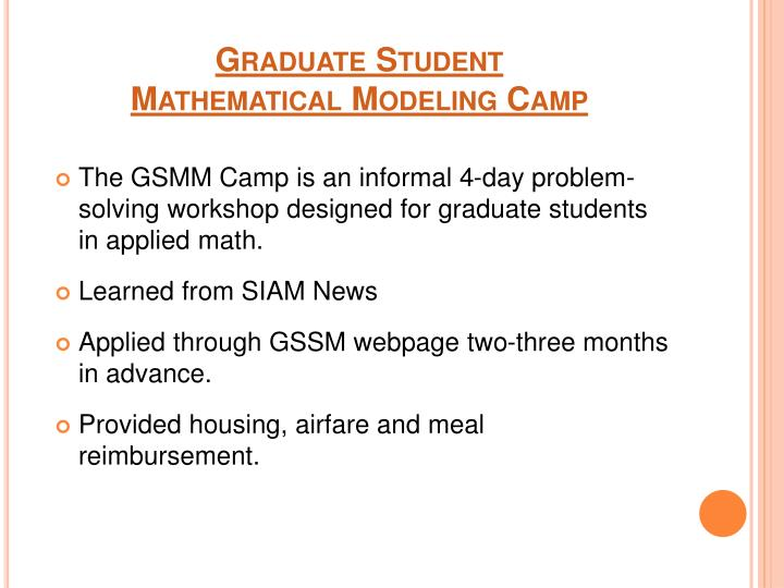 Graduate student mathematical modeling camp