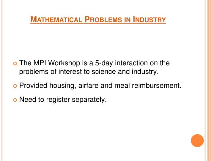Mathematical Problems in Industry