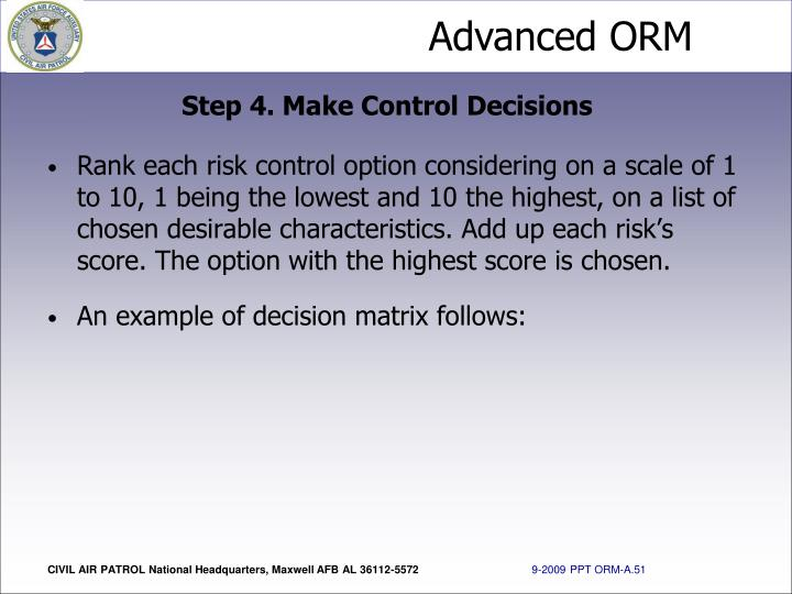 Step 4. Make Control Decisions