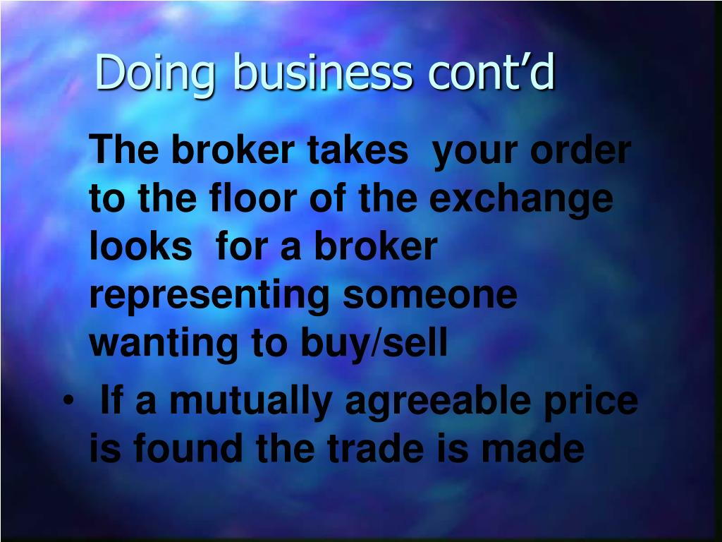 Doing business cont'd