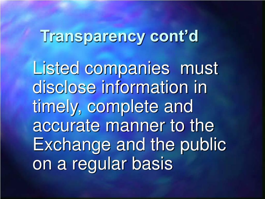 Transparency cont'd