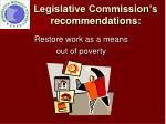 legislative commission s recommendations