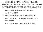 effects of increased plasma concentrations of amino acids on liver utilization of amino acids