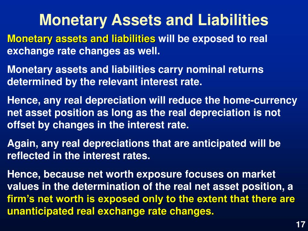 Monetary Assets and Liabilities