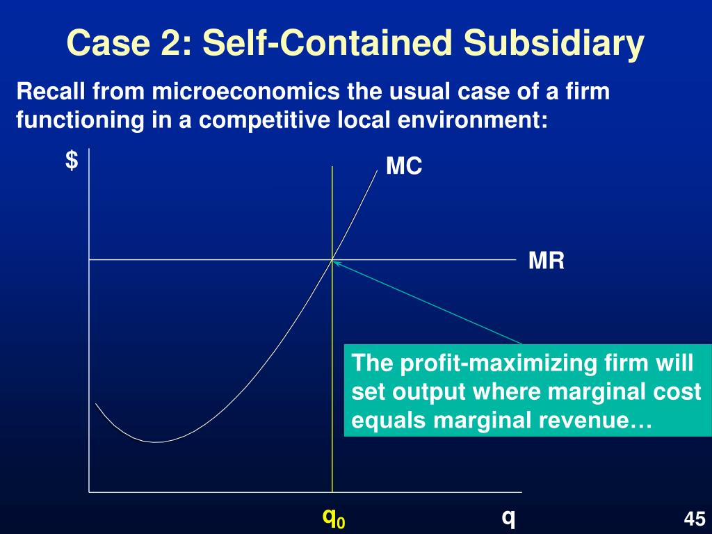 Case 2: Self-Contained Subsidiary