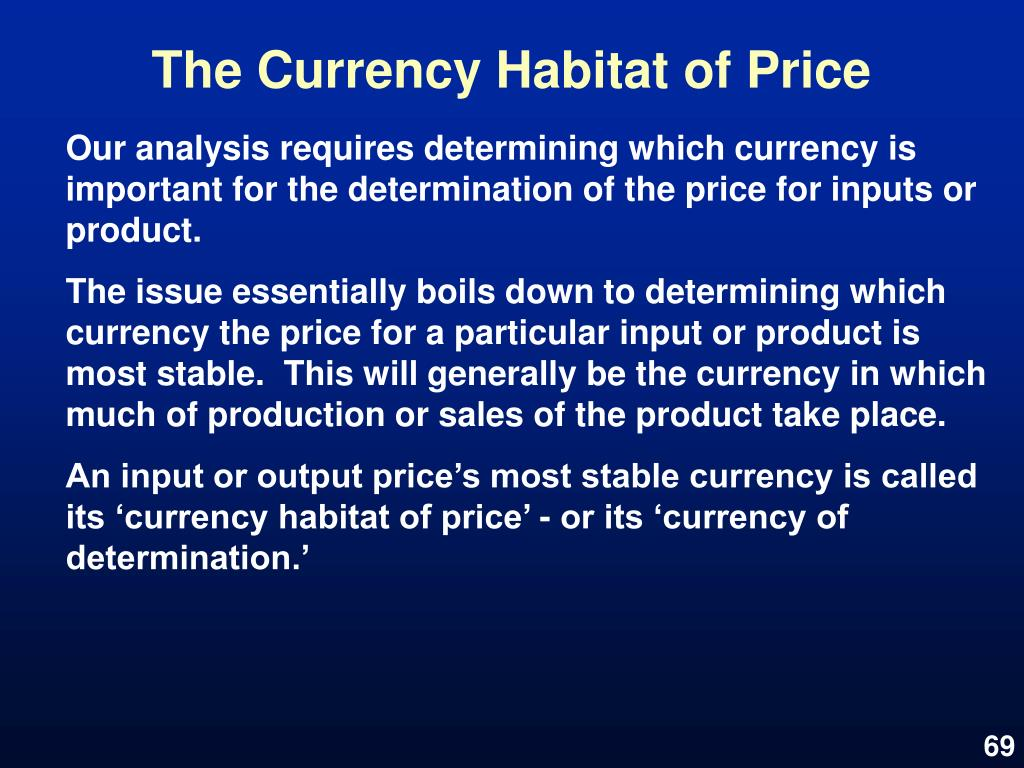 The Currency Habitat of Price