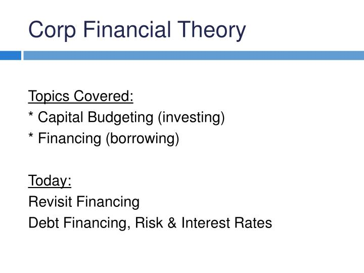 Corp financial theory