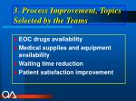 3 process improvement topics selected by the teams