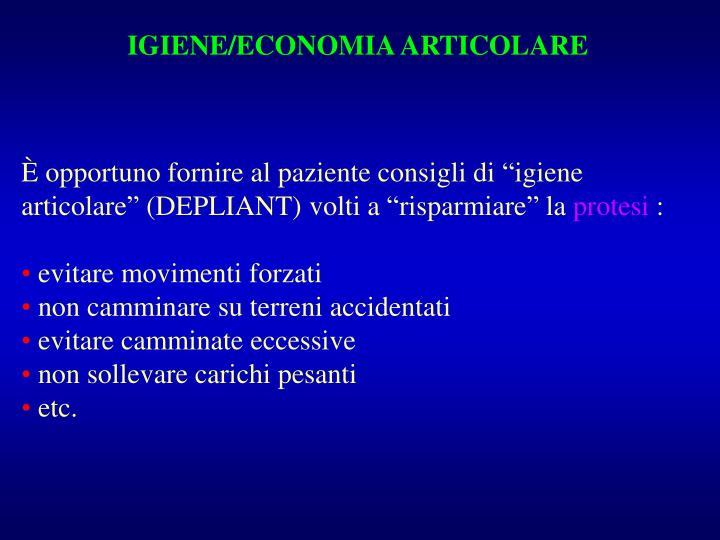 IGIENE/ECONOMIA ARTICOLARE