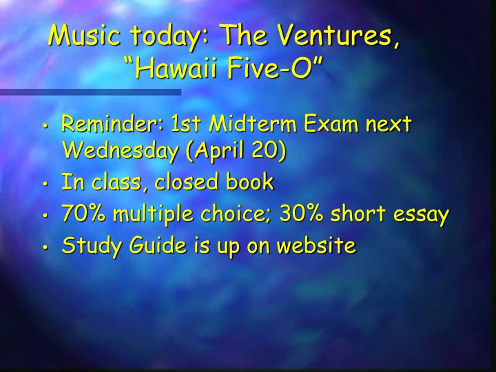 music today the ventures hawaii five o n.