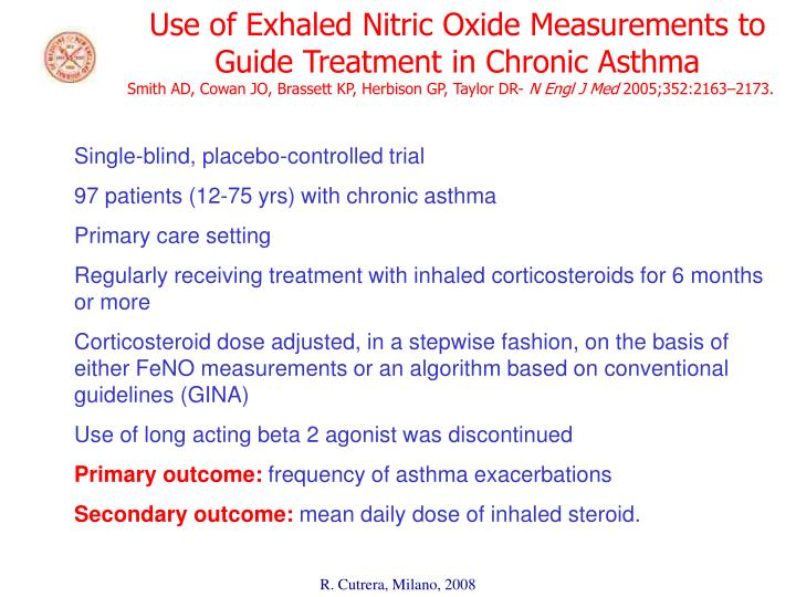 Use of Exhaled Nitric Oxide Measurements to Guide Treatment in Chronic Asthma