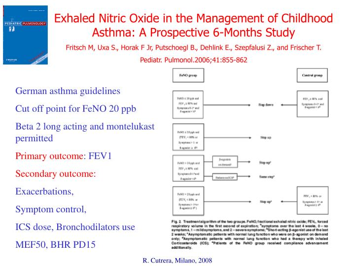 Exhaled Nitric Oxide in the Management of Childhood  Asthma: A Prospective 6-Months Study