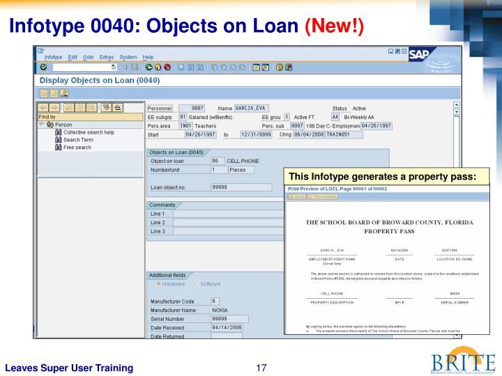 Infotype 0040: Objects on Loan