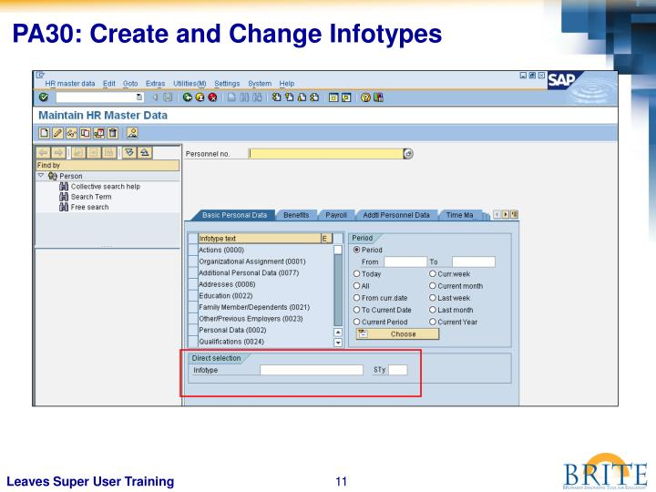 PA30: Create and Change Infotypes