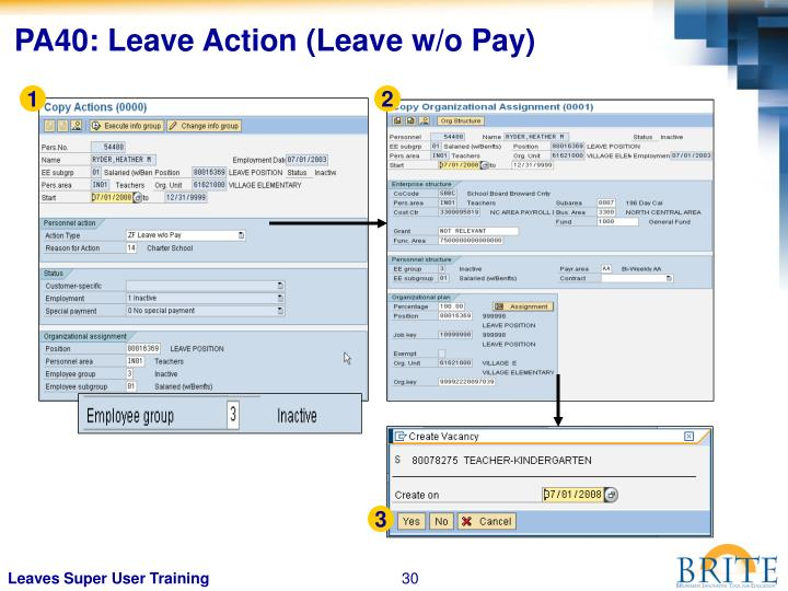 PA40: Leave Action (Leave w/o Pay)