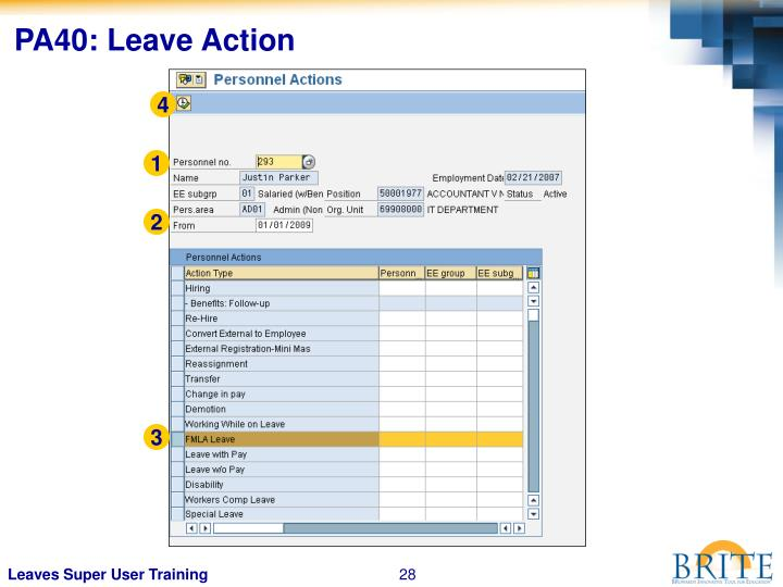 PA40: Leave Action