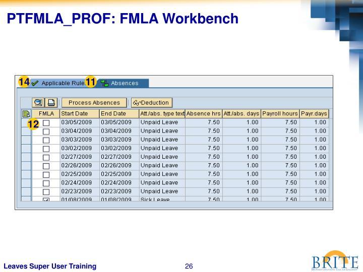 PTFMLA_PROF: FMLA Workbench