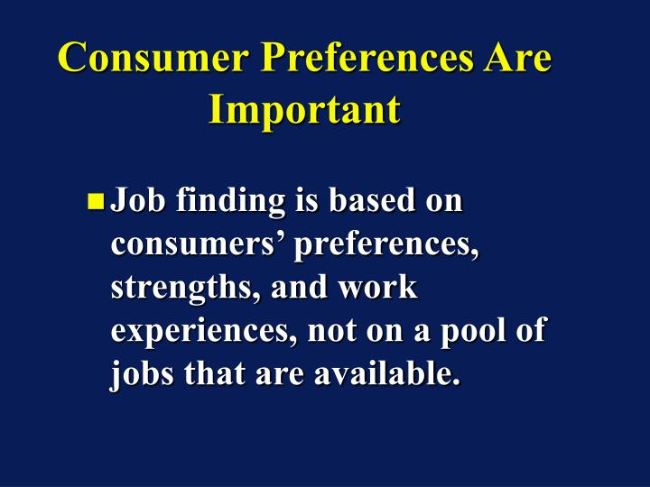 Consumer Preferences Are Important