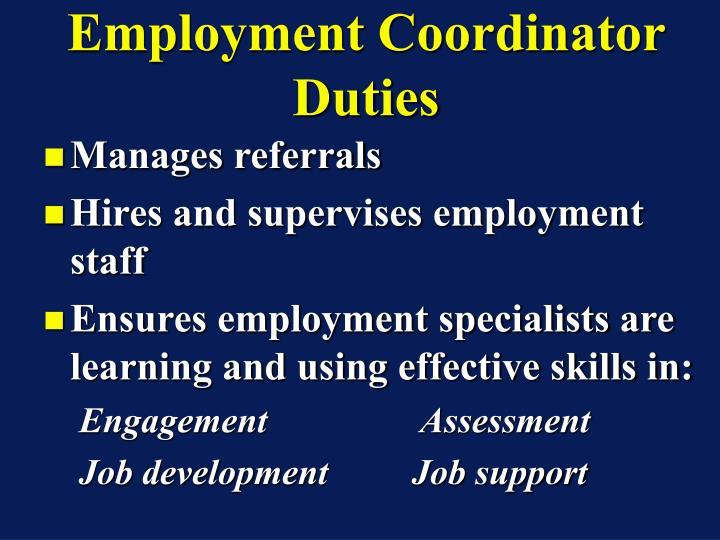 Employment Coordinator Duties