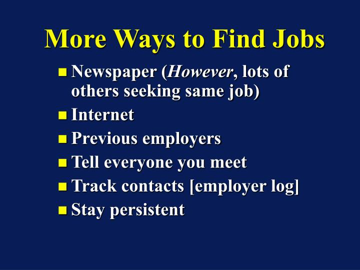 More Ways to Find Jobs