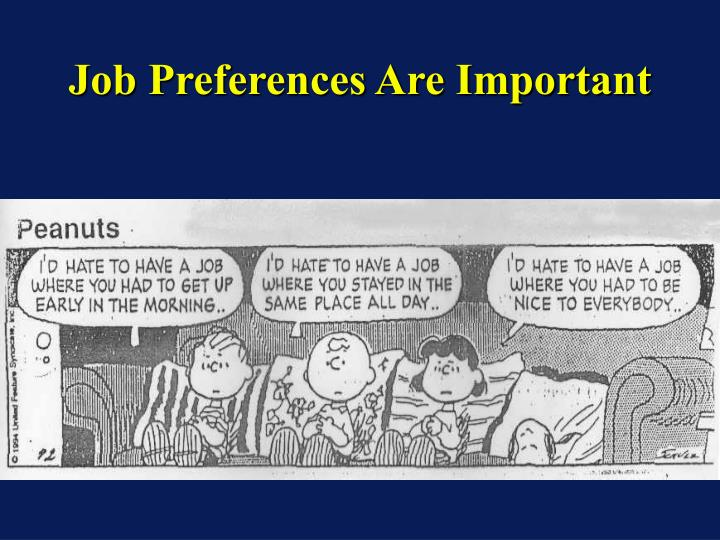 Job Preferences Are Important