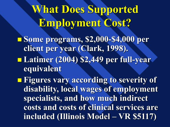 What Does Supported Employment Cost?