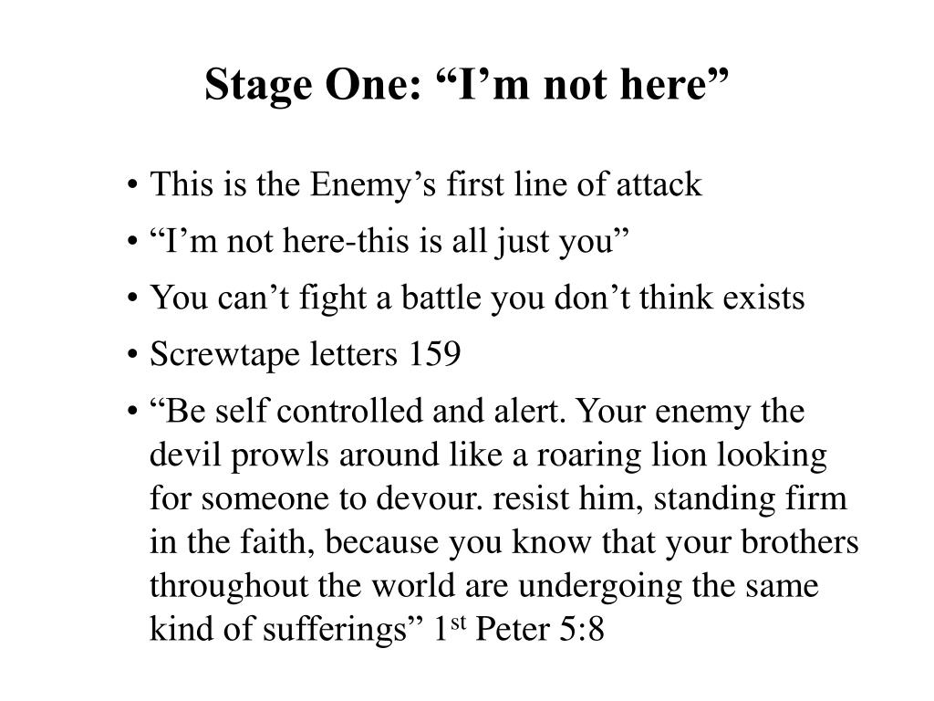 """Stage One: """"I'm not here"""""""