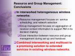 resource and group management conclusions