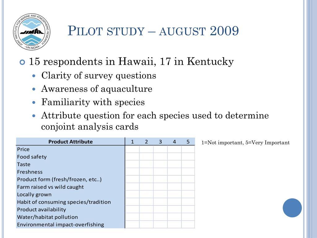 Pilot study – august 2009