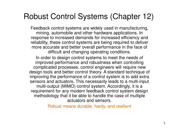 robust control systems chapter 12 n.