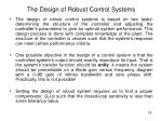 the design of robust control systems