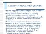 conservaci n criterios generales