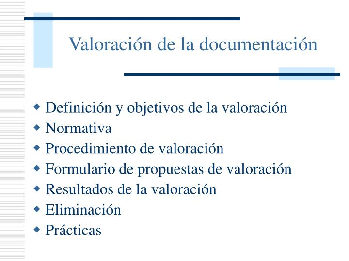 valoraci n de la documentaci n n.
