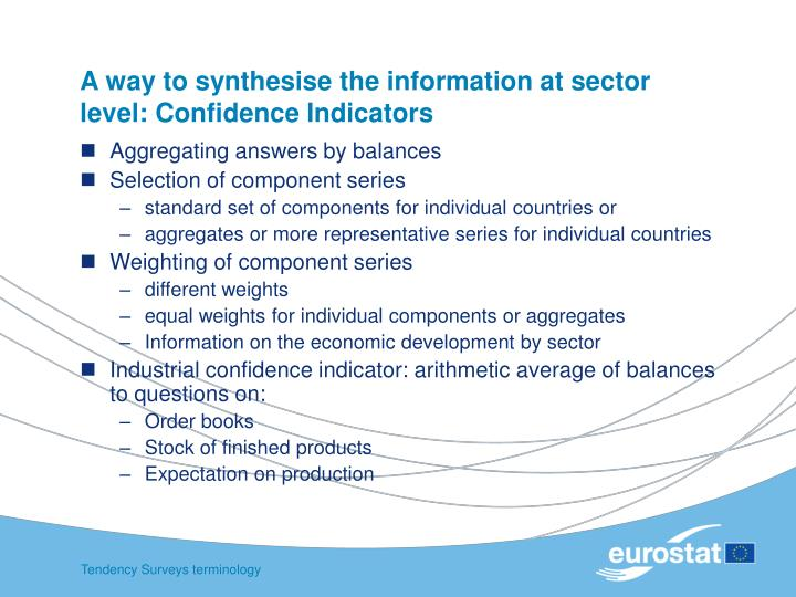 A way to synthesise the information at sector level confidence indicators