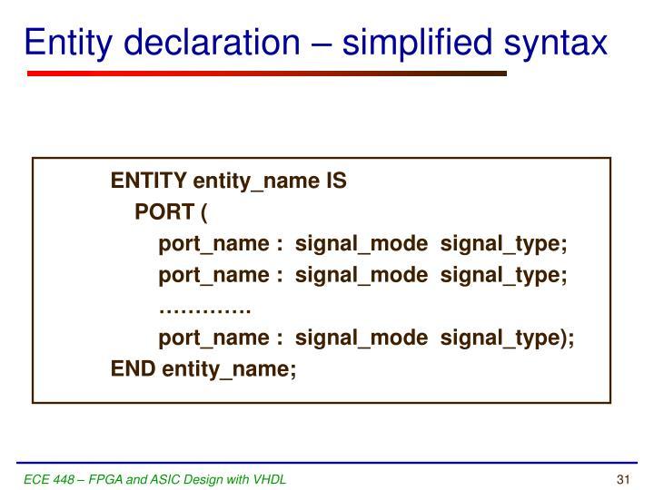 Entity declaration – simplified syntax