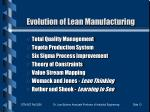 evolution of lean manufacturing