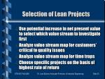selection of lean projects